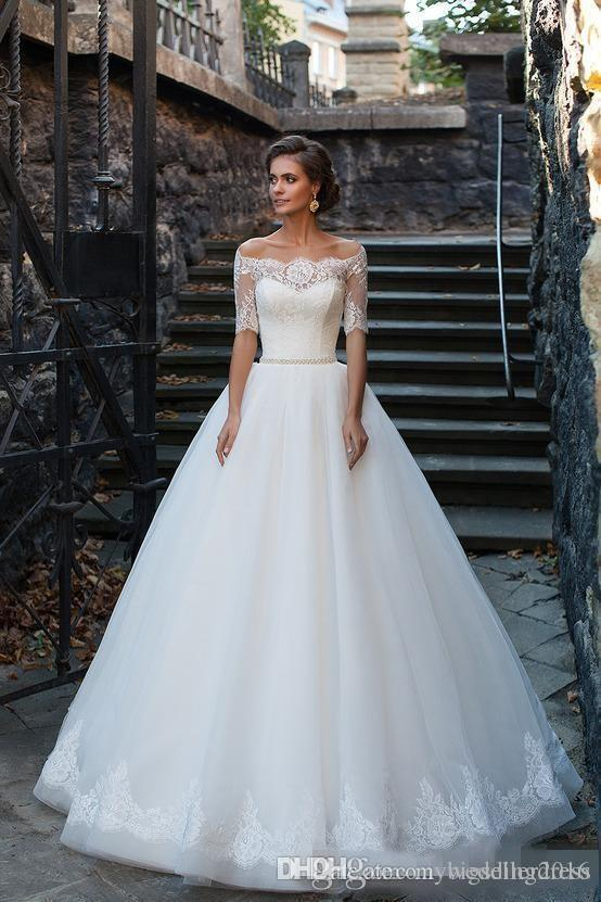 Discount 2016 Vintage Plus Size Ball Gowns Lace Wedding Dresses Half ...