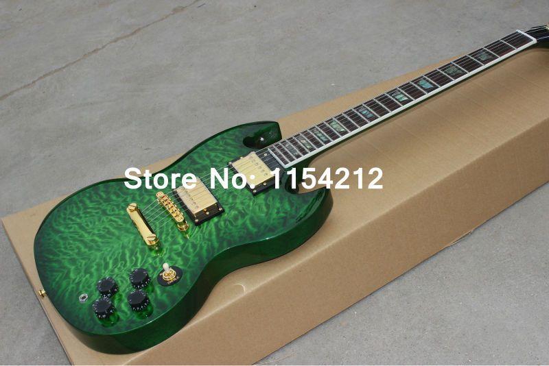 Guitare électrique en gros de haute qualité avec la couleur éclatée verte de style de luxe personnalisé