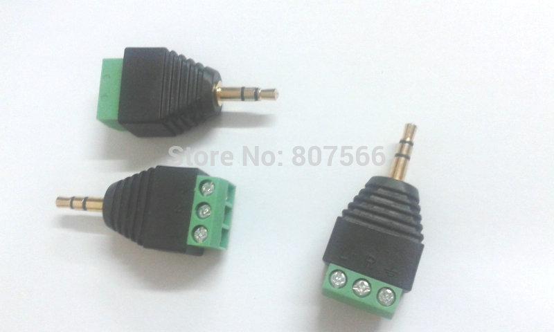 """500pcs Video AV Balun 3.5mm 1/8 """"estéreo macho dorado a adaptador de enchufe de terminal de tornillo AV"""
