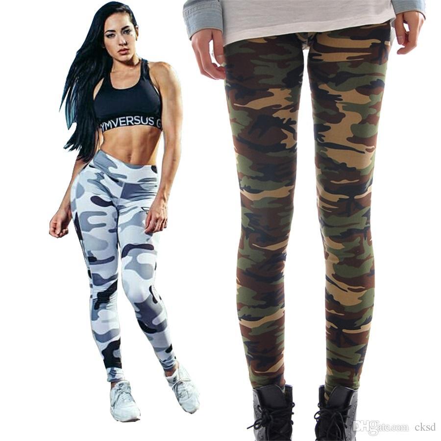 Fans du sport Haute élastique Slimt Fit Leggings de camouflage numérique Full Print Leisure Leggins Sexe Slim Fit Pantalon LWDK22 WR