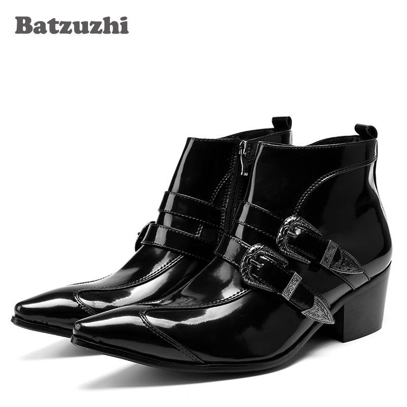 Stivali da motociclista in pelle verniciata nera 6.5cm Tacchi alti da uomo in pelle stile giapponese Stivali da uomo invernali-corti in pelle da uomo, Big Size US6-12