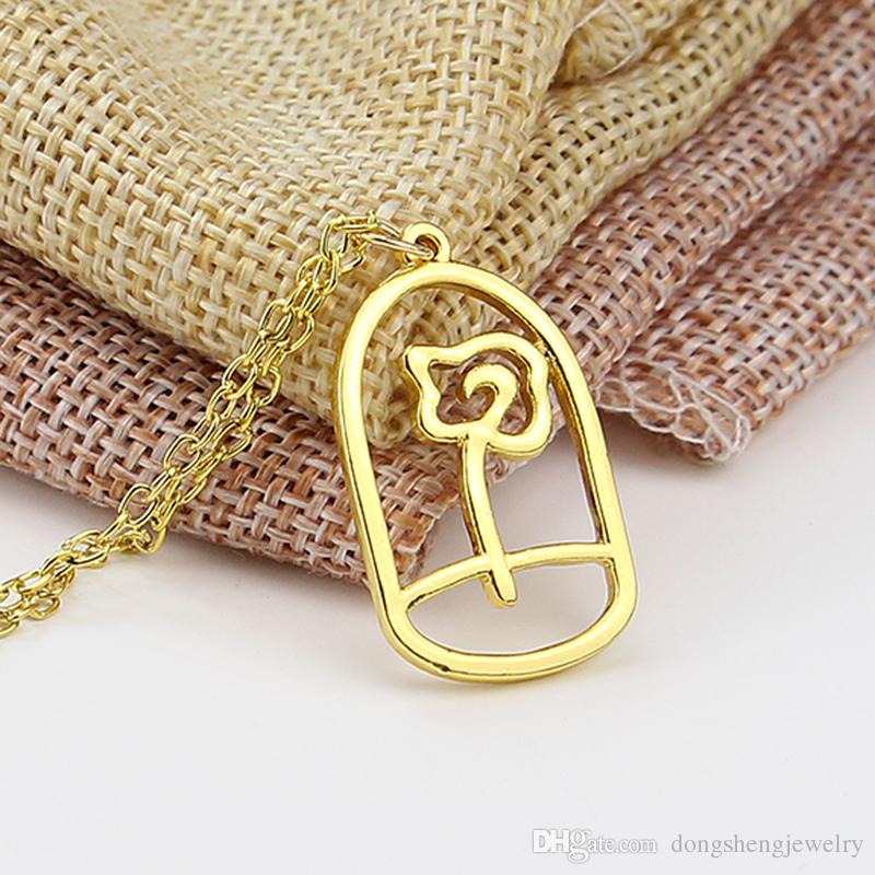 Wholesale Beauty And The Beast Necklace Enchanted Rose In Terrarium