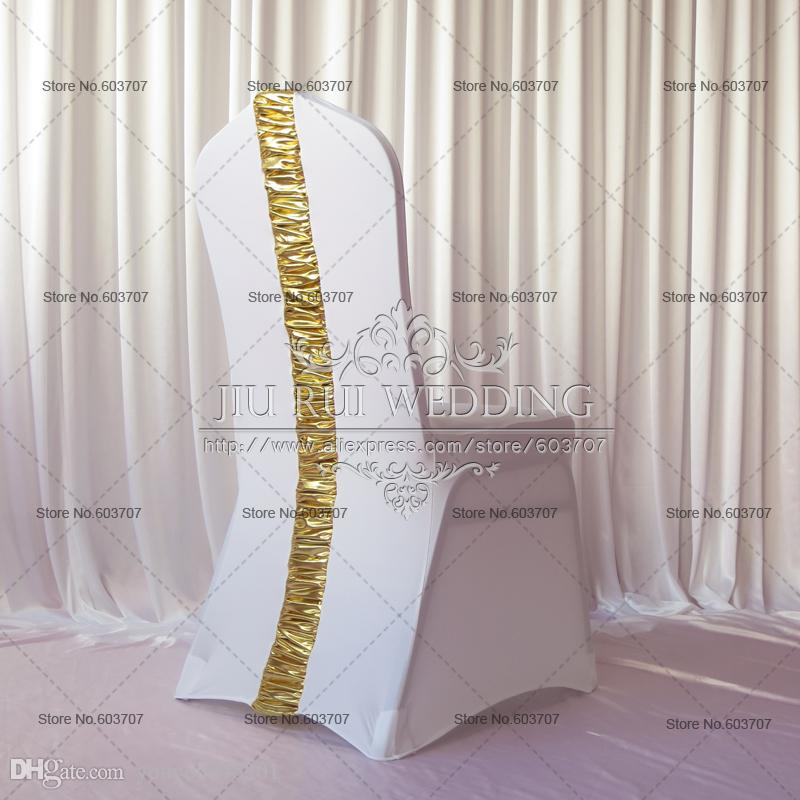 Spandex Chair Cover - White Lycra Chair Cover With Gold Metalic Pleat At Back 100PCS Free Shipping For Wedding Event Use