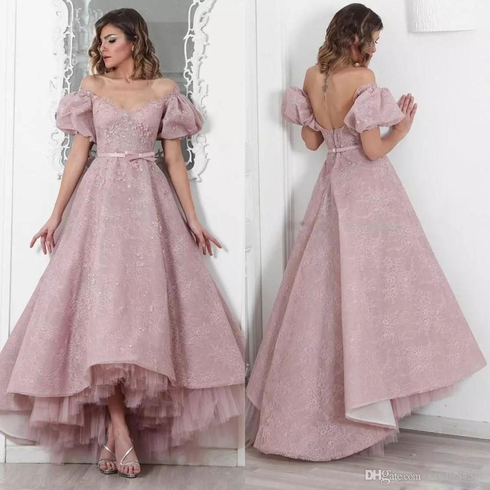 Off The Shoulder Evening Gown With Petticoat Short Sleeve Applique Sash Backless Lace Prom Dresses Fashion High-Low Pretty Evening Dresses