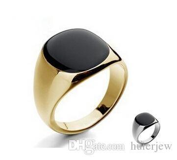 남성 반지 패션 보석 보석 반지 18 천개 골드 실버 도금 웨딩 스테인레스 스틸 반지