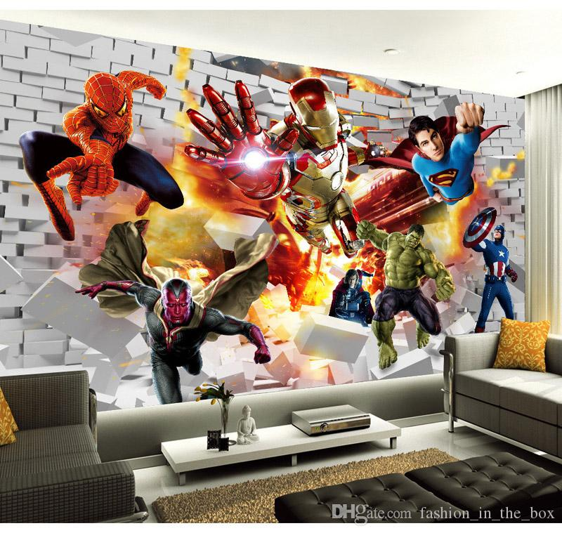 Avengers Wallpaper 3d Photo Wallpaper Hulk Iron Man Superman Custom Wall Mural Boy Kid Bedroom Bricks Wallpaper For Walls Tv Backdrop Decor Movie