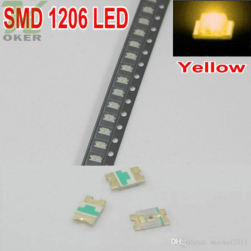 3000pcs / 릴 SMD 1206 (3216) 노란색 LED 램프 다이오드 울트라 밝은 SMD