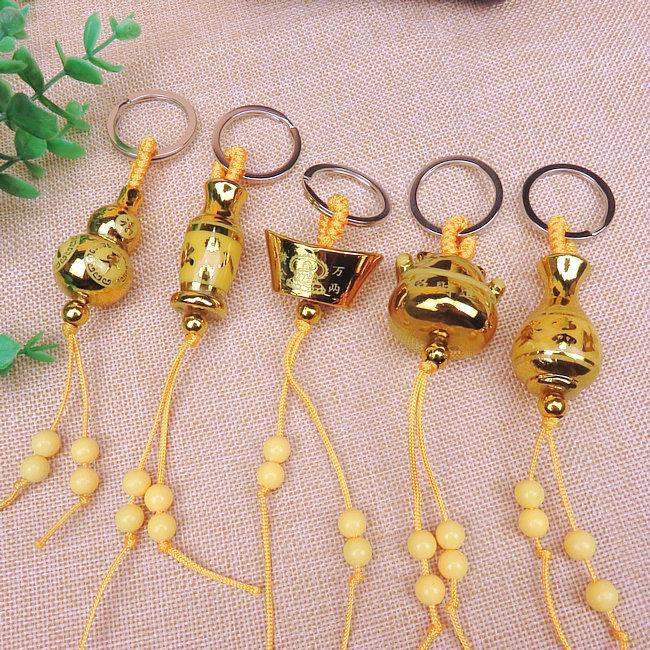 Großhandel Originalität, Glück, goldener Barren, sichere Kürbisvase, automatische Schlüsselschnalle, Anhänger