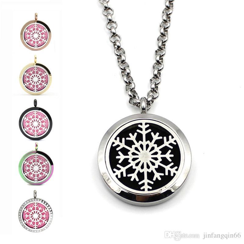 Stainless Steel Aromatherapy Essential Oil Diffuser Snowflake Design Perfume Locket Pendant Snowflake Pattern Perfume Lockets For Gift