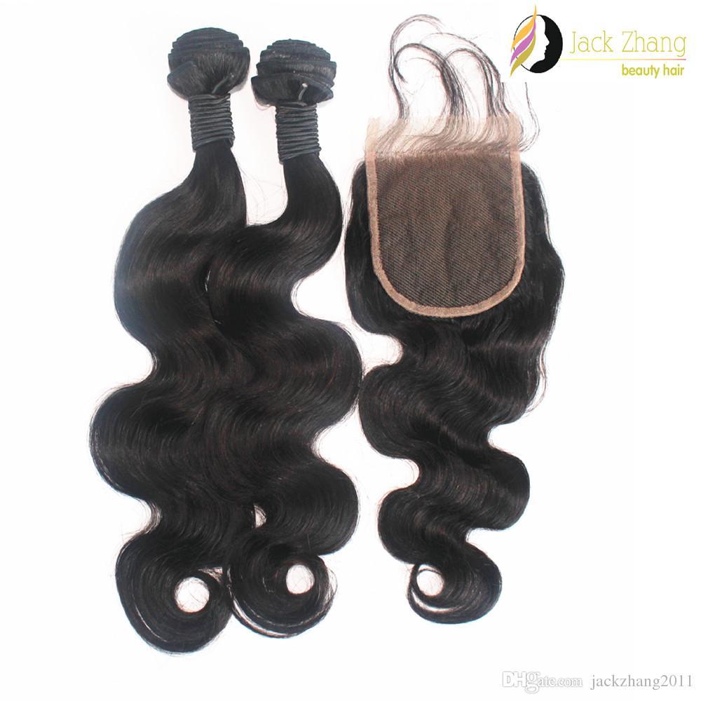 الشعر الهندي لحمة إغلاق الرباط 1PC مع 2PCS مختلطة نسج الشعر الأسود الطبيعي موجة الجسم غير المجهزة بشرة الشعر التمديد الإنسان