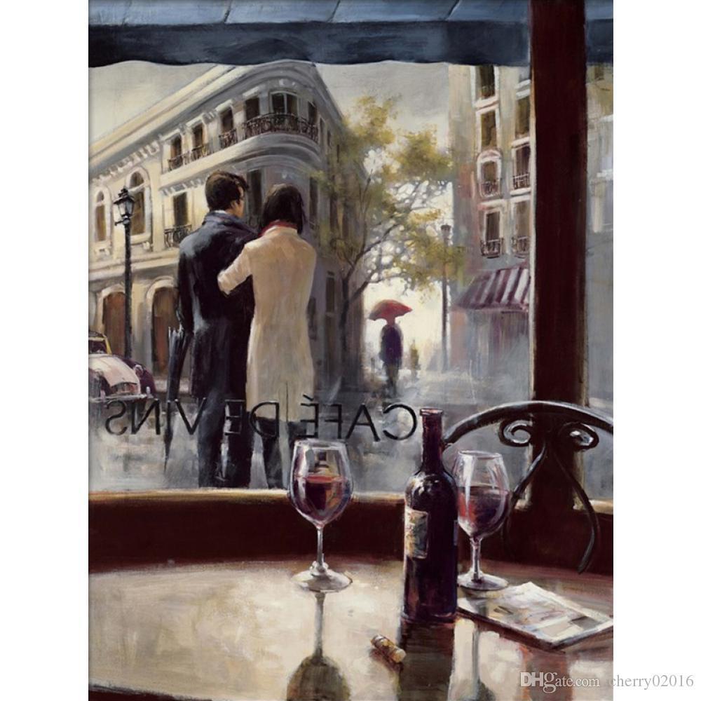 Французское искусство Современная живопись маслом После дождя кафе-бары Брент Хайтон Живопись холст уличная сцена ручная роспись декора стен