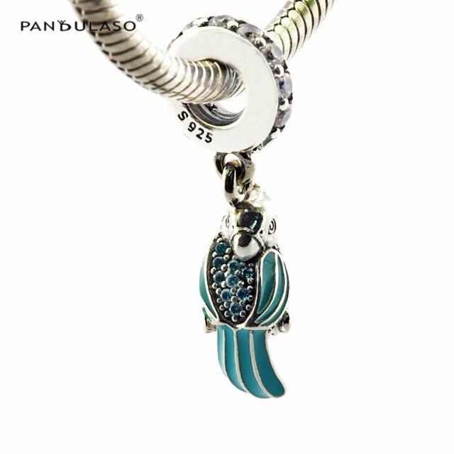 Tropical Papagaio Pingente Charme Sterling-Silver-jóias Beads Serve Pulseiras Pandora DIY Mulher Pulseiras Beads Grânulos De Jóias Por Atacado