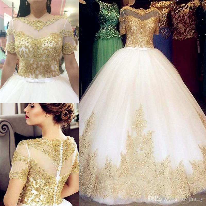 Discount 2016 Gold Lace Appliques Arabic Wedding Dresses A Line ...