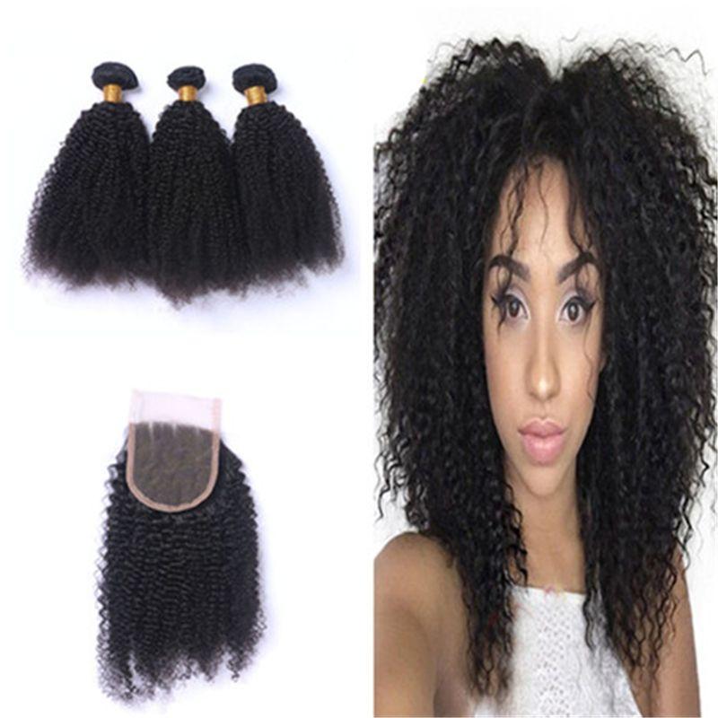 El pelo rizado afro brasileño rizado teje con el cierre del cordón la armadura brasileña del pelo humano 4Pcs / Lot con las extensiones del pelo del cierre con el cierre