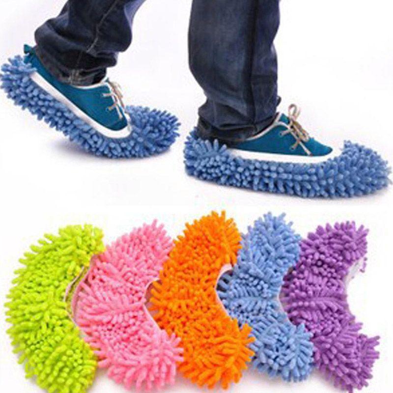 الغبار ممسحة النعال البيت النظيف كسول الطابق الغبار تنظيف القدم حذاء غطاء 5 ألوان انخفاض الشحن