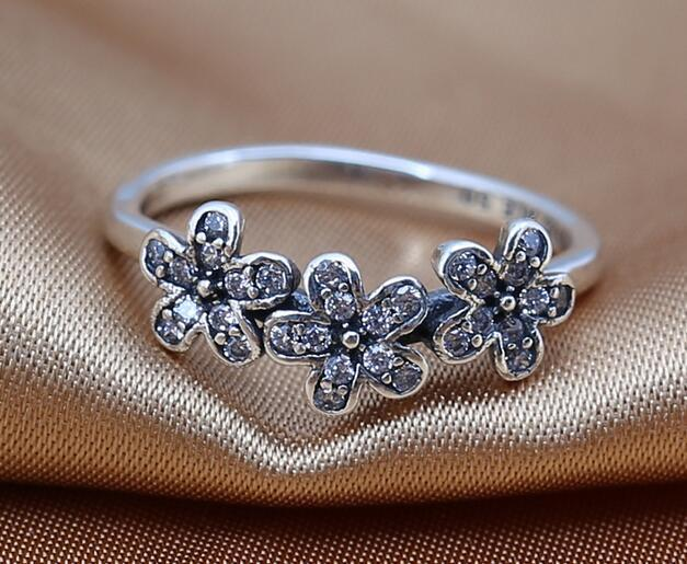 Rings 925 Sterling Silver ring Daisy Silver Rring With Cubic Zirconia fits for Pandora Style Jewelry DIY charms wholesale 2016 NEW spring