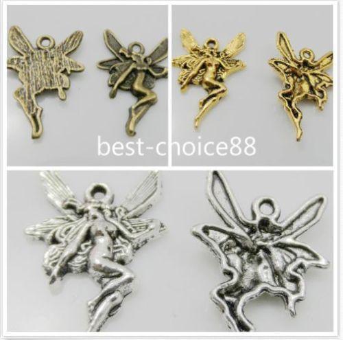 300 Pcs Antique Silver Gold Bronze Pingente de Encantos Do Anjo Para Pulseira 21.5x15mm