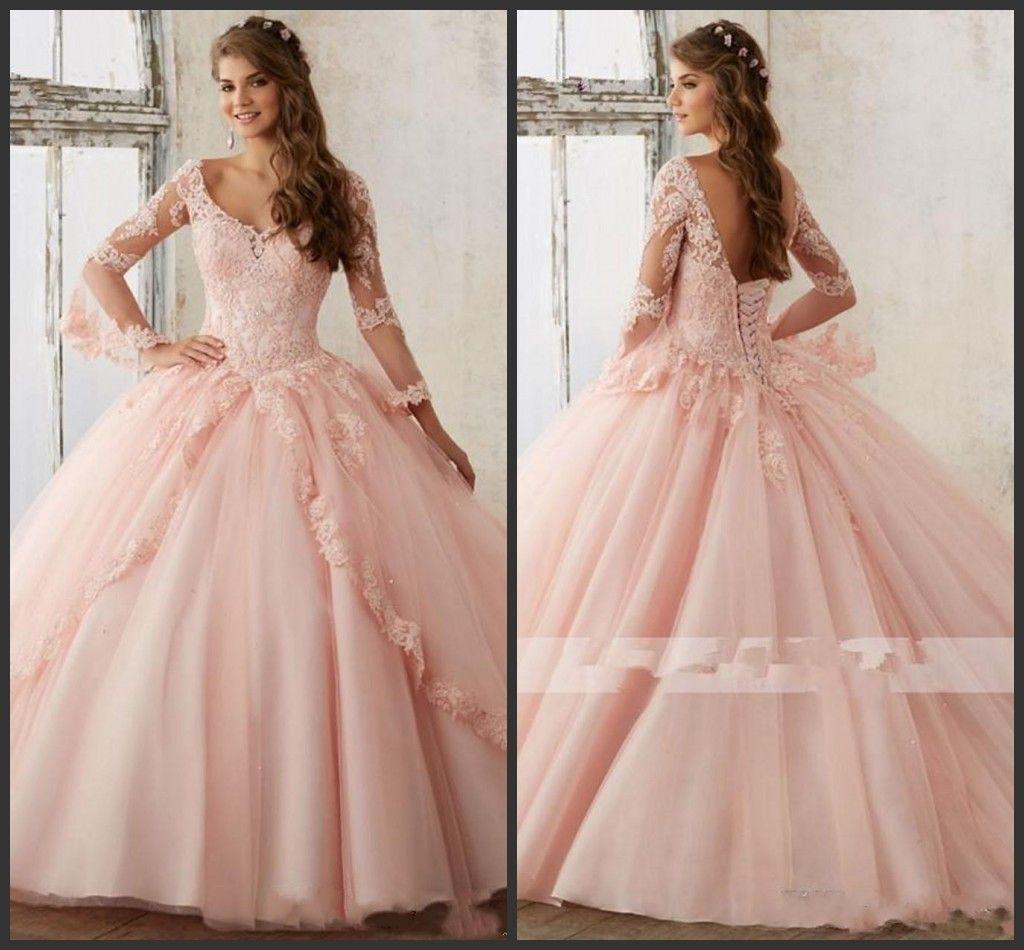 großhandel 2019 neue langarm baby rosa ballkleid quinceanera kleider v  ausschnitt spitze appliques lange prom sweet 16 prom kleider vestidos de