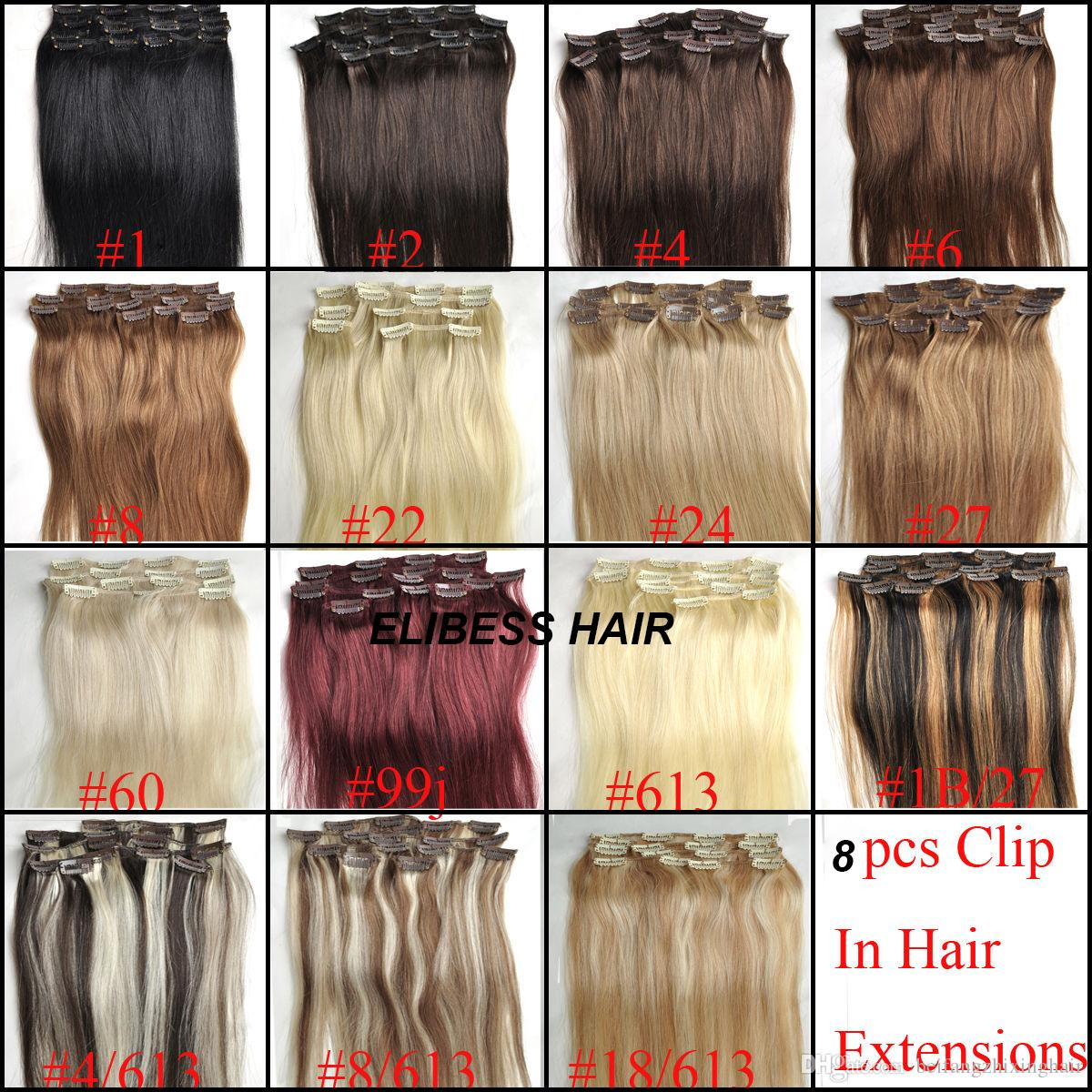 100g / pc 8 pc / set 100% cabelo humano real / lndian grampos de cabelo em extensões real direto da cabeça cheia de qualidade superior dhl livre