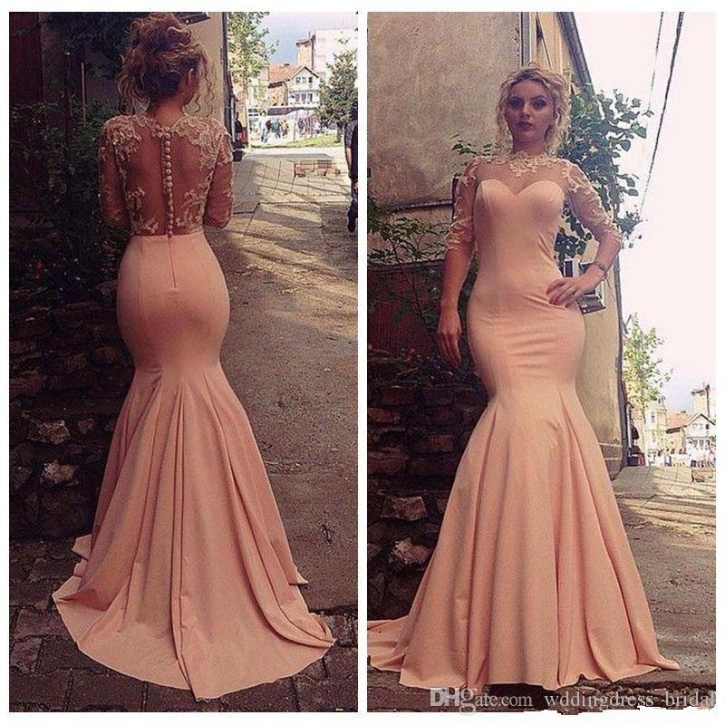 Peach Pink Mermaid Evening Dresses 2019