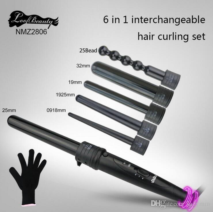 DHL Frete Grátis 6 em 1 enrolamento Conjunto de Cerâmica Cabelo Curling Tong Cabelo Cabelo Enrole o Ferro The Wand Curler Roller Gift Set 09-32mm UE / EUA Plug