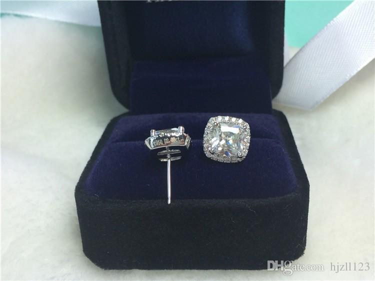 Orecchini di diamanti sintetici a taglio quadrato princess da 2 carati / paio Princess per le donne Orecchini di fidanzamento in oro 18k placcato bianco