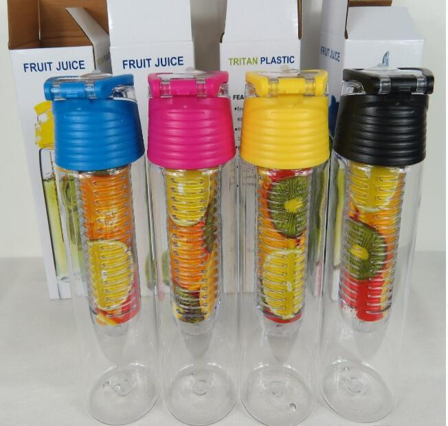 700ML Tritan Fruit Sport Water Bottle Infusing Infuser Bottles with Carrying Handle Many Color Option A013 free shipping