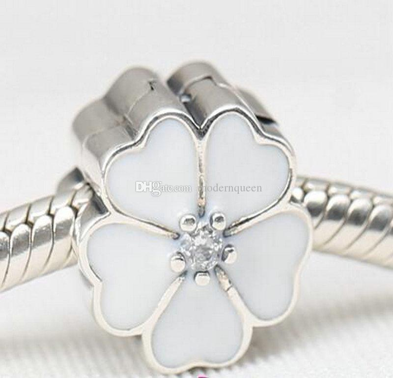 Flower clip charms S925 sterling silver for women fits pandora style bracelet and necklace free shipping 086