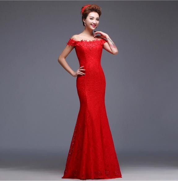 Big Promotion! 2016 Günstige Elegante Meerjungfrau Rot / Blau Lange Abendkleider aus der Schulter Stickerei Chinesische Spitze Brautkleider Cheongsam