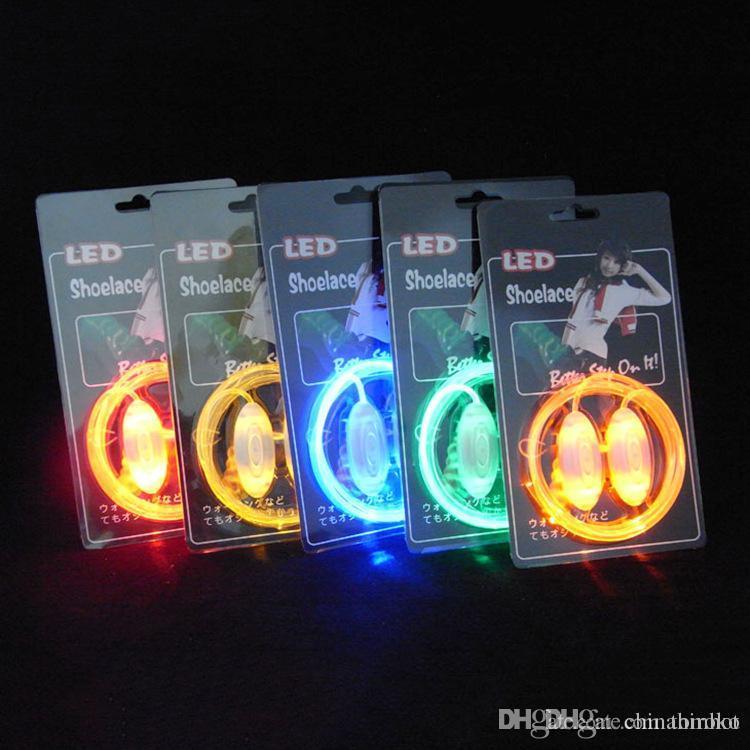 Laços de sapato LED Piscando 200 pcs (100 pares) Cadarços de Sapato De Fibra Óptica Luminosa Cadarços de Presente de Natal Dia Das Bruxas Livre DHL FedEx