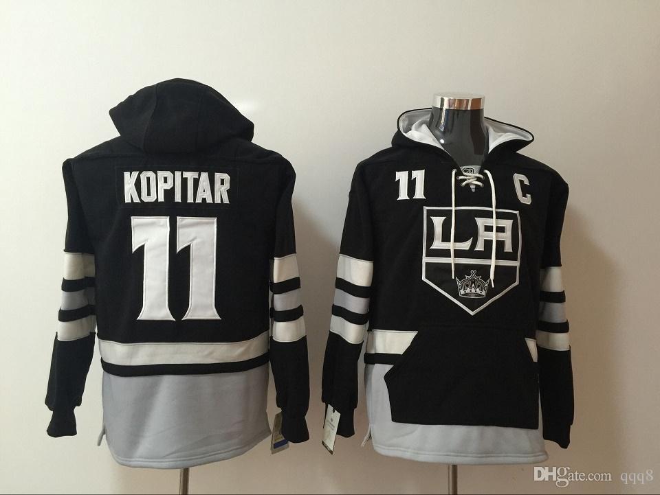 Los Angeles Kings 11 Anze Kopitar LA hokey Forması Siyah Hoodie Kazak Tişörtü Kış Ceket En Kaliteli! % 100 Dikişli