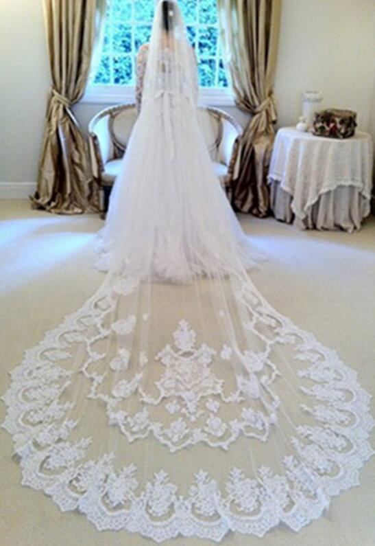 Longue voile de mariage exquis luxry mariée voile une couche dentelle bord cathédrale longueur perles voile de mariée accessoires de mariageHT114