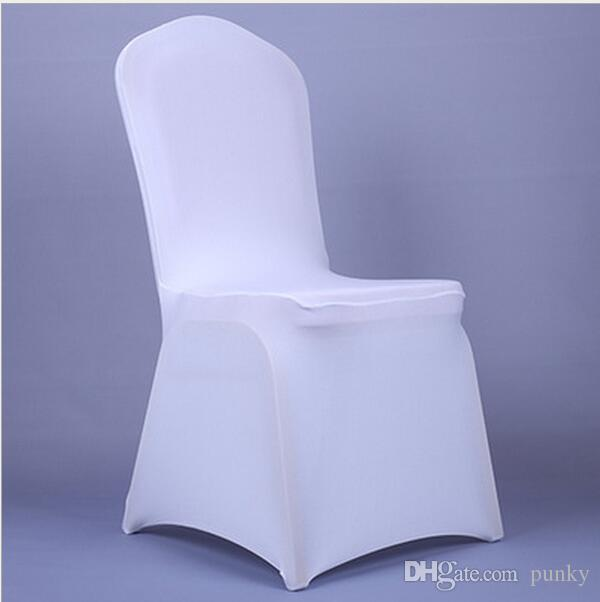 Free Shipping 100pcs Universal White Spandex Wedding Lycra Chair Covers for Wedding Banquet Hotel Decoration Hot Sale Wholesale
