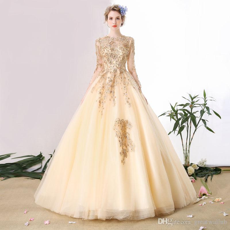 Luxus Champagner Gold Perlen Goldene Stickerei Cosplay Ballkleid Mittelalterliches Kleid Princess Renaissancekleid Königin Victoria / Ballkleid / Belle