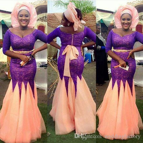 겸손한 나이지리아 이브닝 드레스 플러스 사이즈 머메이드 어깨 너머 넥 반팔 슬리브 퍼플 레이스 복숭아 색 새틴 스커트 댄스 파티 드레스