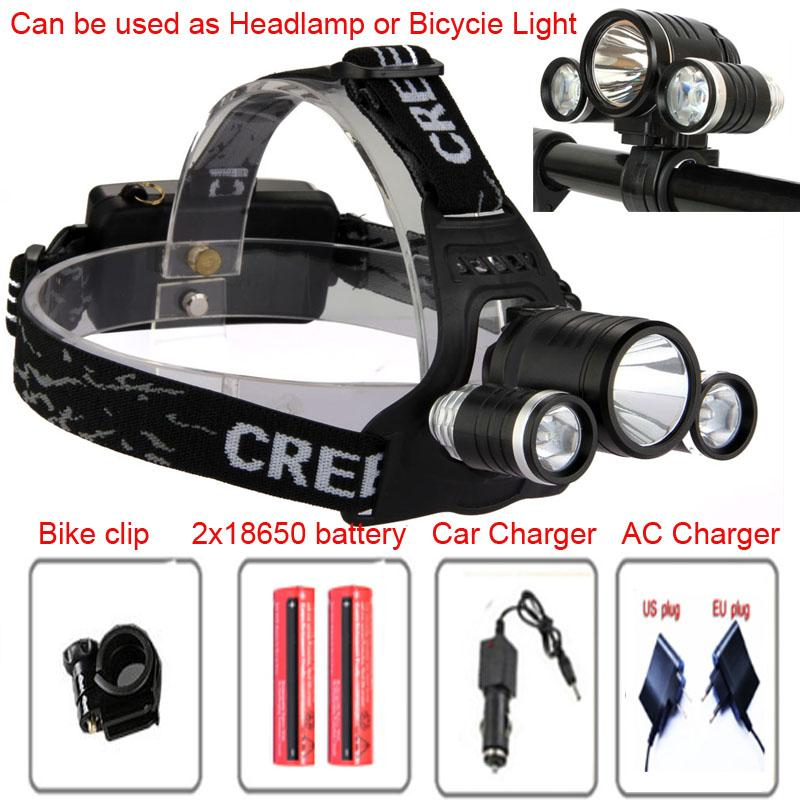 3 faros LED 6000 lúmenes Cree XM-L T6 lámpara de cabeza Luz de bicicleta LED de alta potencia + 2 piezas 18650 cargador de batería 5000mah + cargador de coche