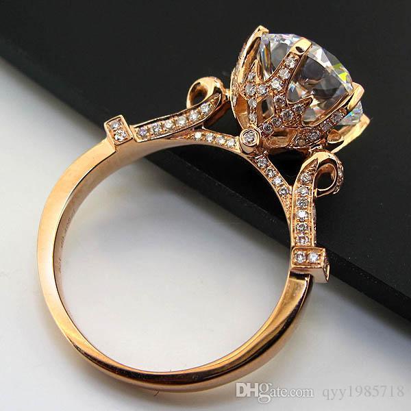 Haute Qualité Unique Bijoux Anneau 2CT S925 Argent Synthétique Diamants Bague de Fiançailles Femmes De Mariage Argent Bijoux Authentique Rose Or Couleur