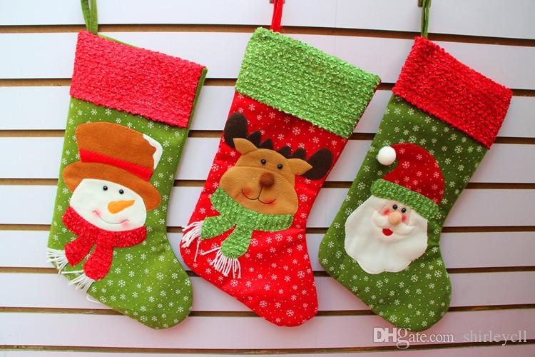 wholesale new arrival christmas decorations fashion christmas santa clause stocking festival party ornaments gifts bag new - Wholesale Christmas Decorations