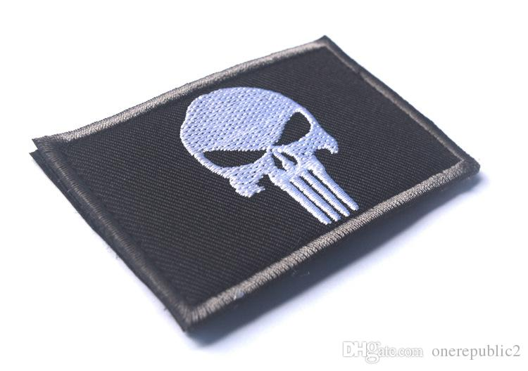 50 PCS Punisher Skull USA Army US MTactical Morale Black Patch Army USA Badges Embroidered Patches Stickers free ship 389
