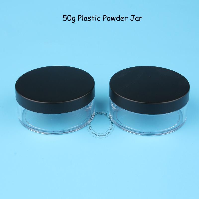 40 unids / lote al por mayor vacío 50g plástico en polvo Jar con tapa mate 5 / 3OZ herramientas de maquillaje de embalaje 50 gramos recargable olla recargable