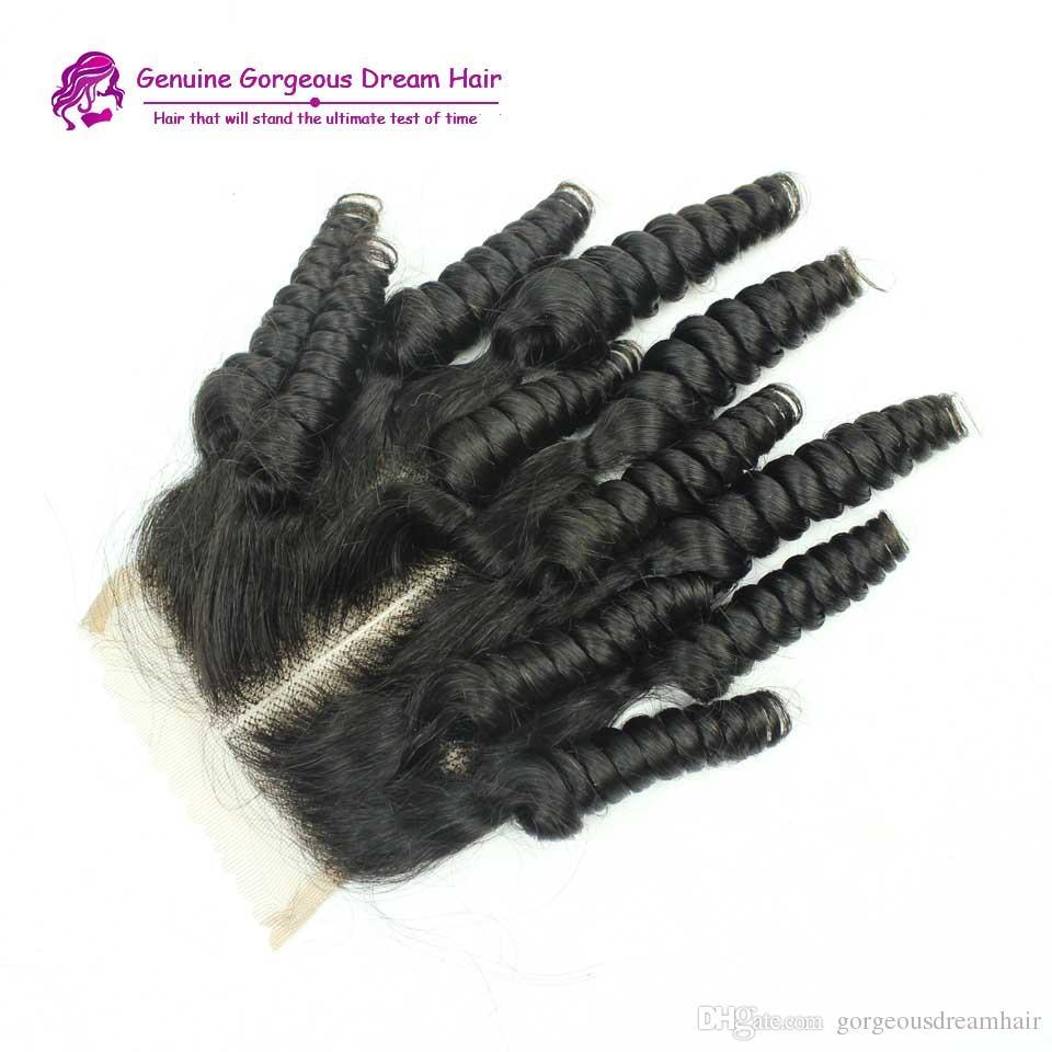 أقل سعر! Funmi البرازيلي حليقة الشعر البشري 7A رخيصة 4x4 الأعلى الرباط إغلاق قطعة مع عقدة ابيض الحرة الجزء الأوسط