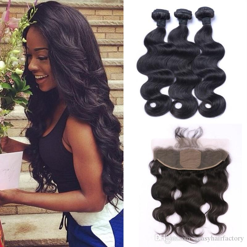 Peruvian Body Wave Human Hair Bundles With Silk Base Frontal Closure 5pcs Lot Natural Black Can Be Dyed LaurieJ Hair