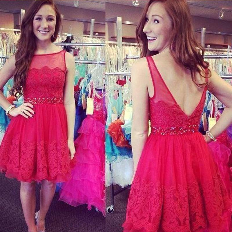 Gentle Short Red Prom Dresses 2016 Cheap Sheer Bateau Neck Lace Appliques Draped Beaded Waist Backless Knee Length Women Formal Party Gowns