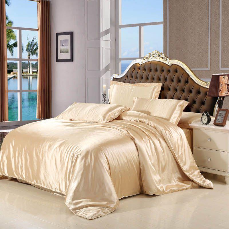 2016 الأزياء ورقة السرير حجم مجموعات الفراش الحرير الحرير الفاخر الملكة / غطاء لحاف / 4PCS سادة / مجموعة النسيج الفضة الرئيسية الشحن المجاني DHL