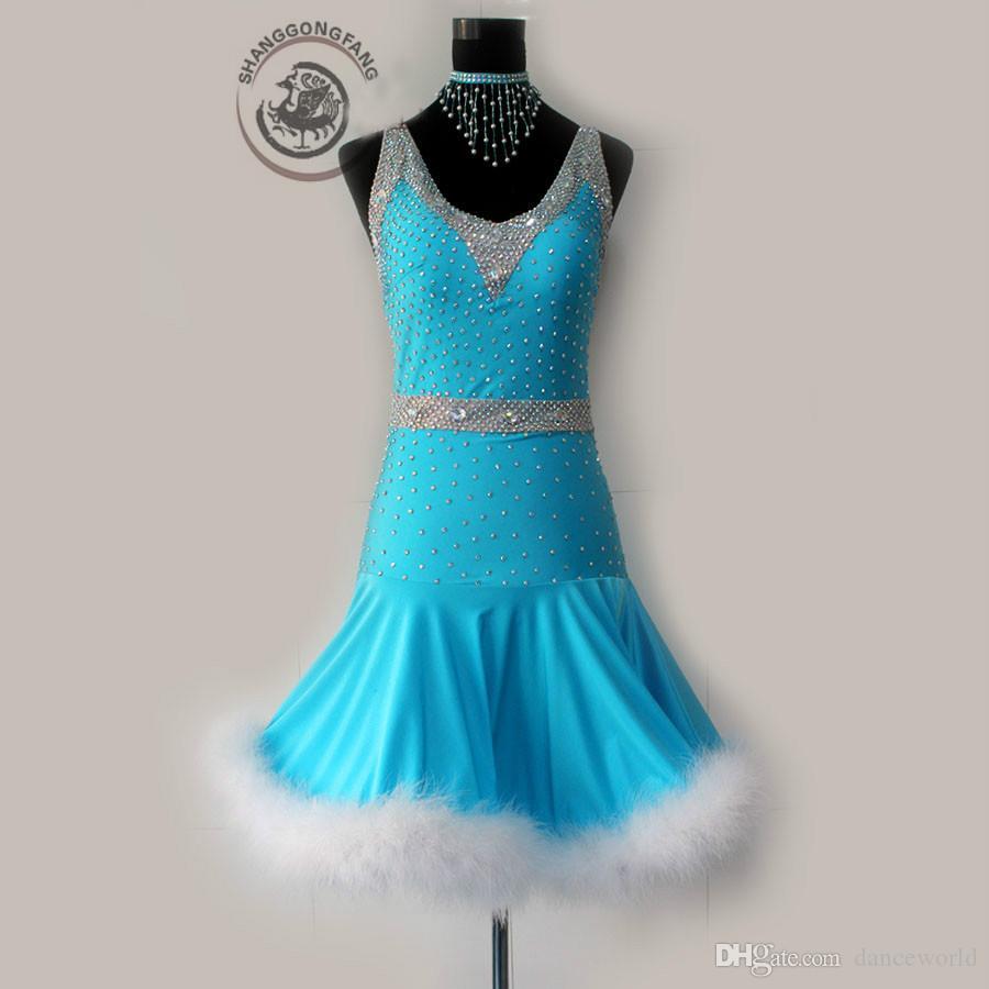 2018 New ballroom traje de dança Latina Profundo decote em V diamante vestidos de competição de dança latina para as mulheres criança vestidos de dança latina S-4XL