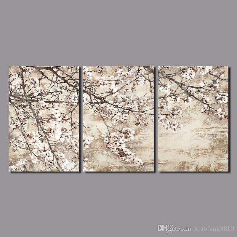 Estilo japão retro 3 pcs flor para sala de estar decoração flor de pêssego canvas impresso pintura de parede pendurado home decor unframed