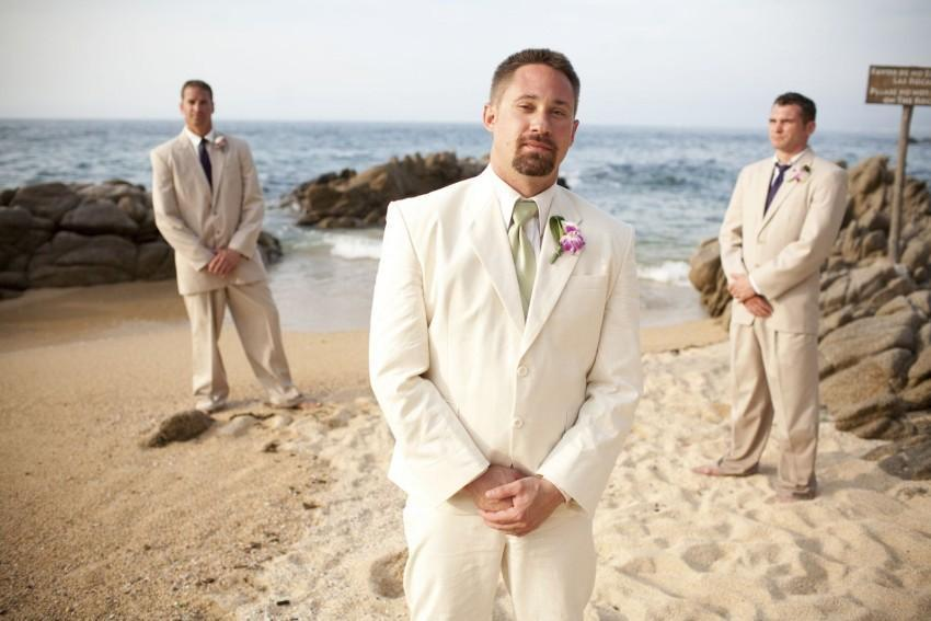 Summer Mens Suits Ivory Linen Suits Notched Lapel Beach Champagne Wedding Suits For Men Slim Fit Grooms Tuxedos Two Piece Groomsmen Suit