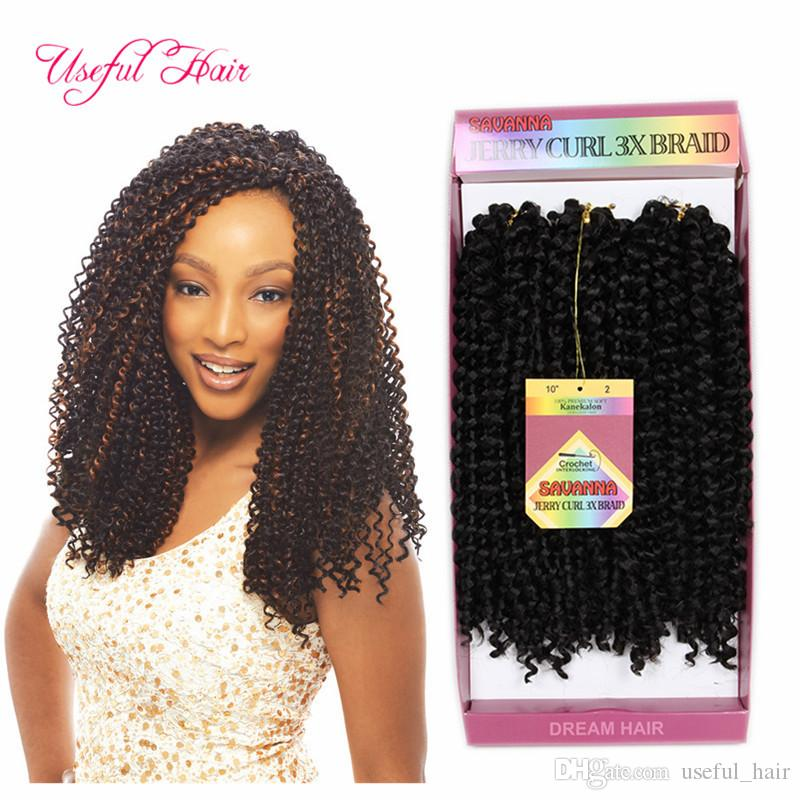 Free shipping synthetic braiding hair pre looped savana jerry Curly Braids Hair Extensions Ombre Hair Weaves Brazilian for black women