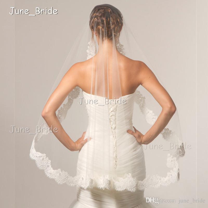 Free Shipping Alencon Lace Crescent Edge Mantilla Bridal Veil Wedding Accessory White Ivory Elbow One Layer Wedding Veil Factory Made