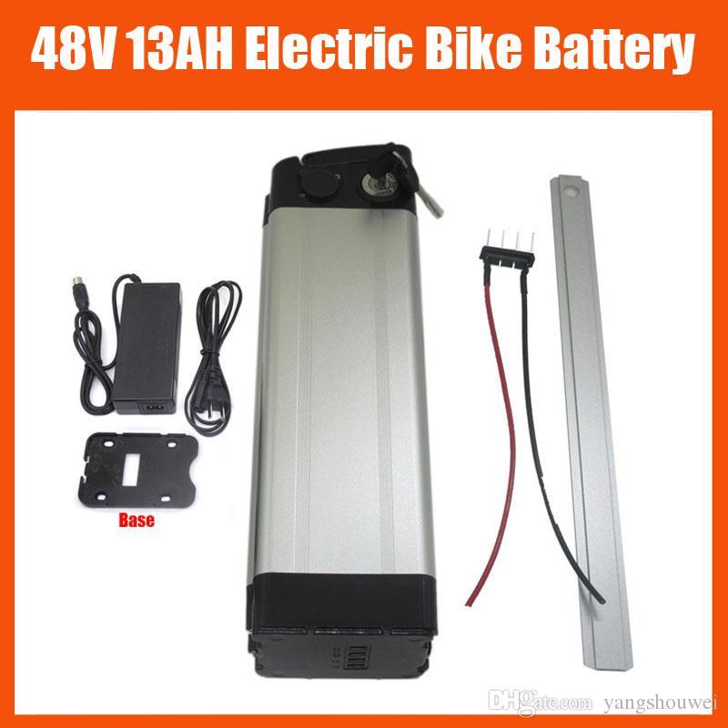 Freies zoll 48 v 13 ah lithium-ionen silber fischbatterie ebike batterie für bafang bbs02 750 watt mit 20a bms 54,6 v 2a ladegerät